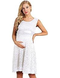 iEFiEL Vestido de Maternidad Sin Manga Vestido Premamá Fiesta Boda Embarazada de Encaje Floral Moderna