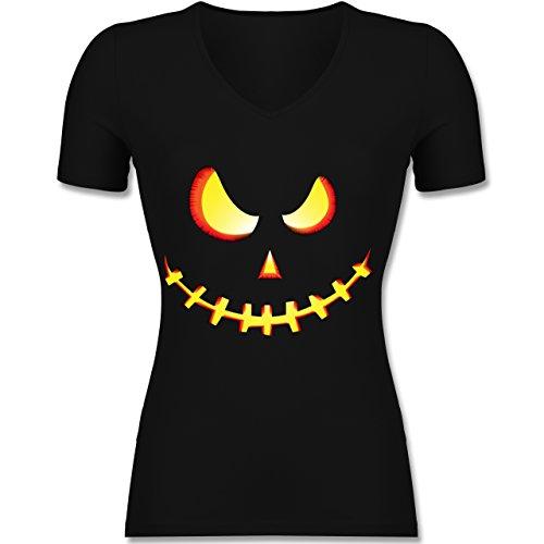 es Kürbis-Gesicht - M - Schwarz - F281N - Tailliertes T-Shirt mit V-Ausschnitt für Frauen (Schaurige Gesichter Für Kürbisse Halloween)