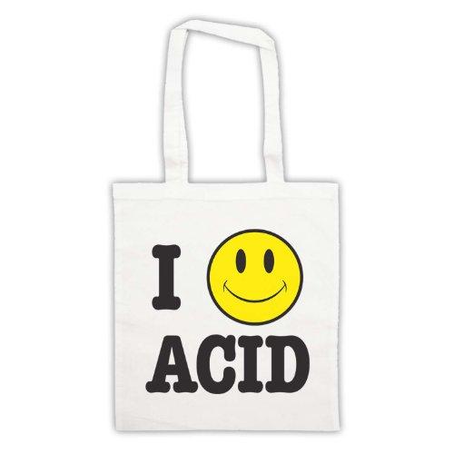 Acido I Love House Smiley Face-Borsa da shopping Bianco