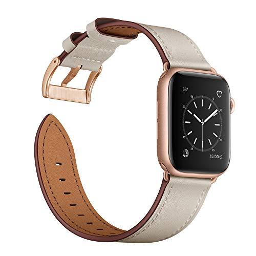 Arktis Lederarmband kompatibel mit Apple Watch (Series 1, Series 2, Series 3 mit 38 mm) (Series 4, Series 5 mit 40 mm) Wechselarmband [Echtleder] inkl. Adapter - Elfenbein