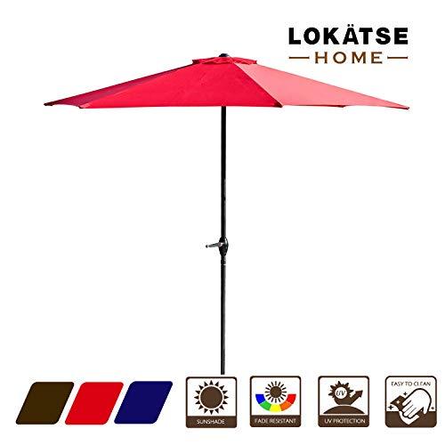 LOKATSE HOME 9' Market Outdoor Patio Table 6 Sturdy Ribs and Crank, Umbrella(red) - 9' Market Umbrella Base
