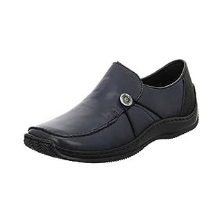 Rieker Damen Komfort-Slipper blau Glattleder 36
