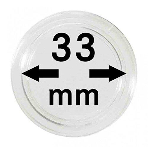 Lindner Münzkapseln für Münzen Ø 14 - 50 mm. Zur Wahl per 1, 5, 10, 100 Stück (33 mm - per 10) -