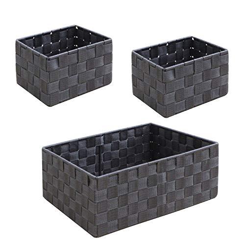 WM Homebase 3er Set Aufbewahrungskorb Korb Aufbewahrungsbox für Regal und Schrank Kunststoff geflecht Spielzeugkisten Schwarzgrau -