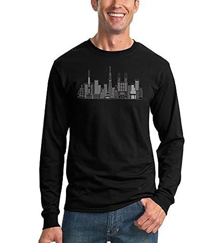Billion Group | Tokyo Skyline Black And White | City Collection | Men's Unisex Sweatshirt Noir Medium