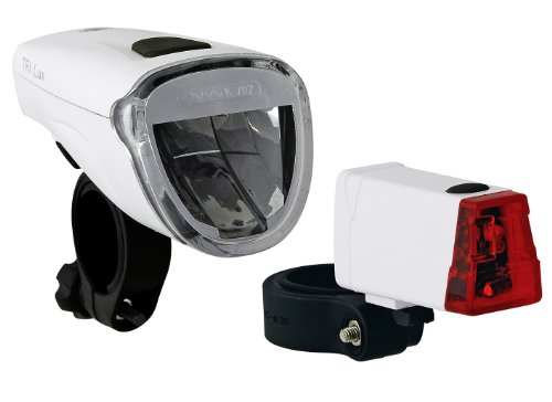 Büchel Batterielampenset Frontlampe Triolux 40 Lux mit Rücklicht Mini LED, weiß, 51125475