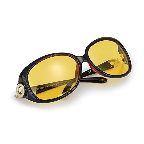 Myiaur Mode Gelben Nachtsichtbrille übergroßen Vintage Rund HD Sonnenbrille Autofahren für Damen mit Polarisierten Entspiegelten 100% UVA UVB Schutz
