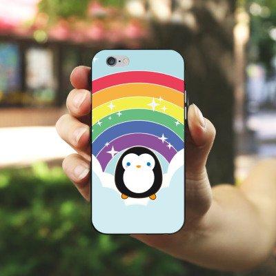 Apple iPhone X Silikon Hülle Case Schutzhülle Regenbogen Pinguin Wolken Silikon Case schwarz / weiß