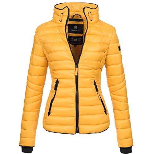 Marikoo Damen Jacke Steppjacke Übergangsjacke gesteppt mit Kordeln Frühjahr Camouflage B405 [B405-Lola-Gelb-Gr.XS] Damen Steppjacke