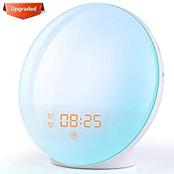 Alarm Clock Wake Up Light- Light Alarm Clock with Sunrise/Sunset Simulation Dual Alarms and Snooze Function, 7 Colors Atmosphere Lamp, 7 Natural Sounds and FM Radio, Ideal for Gift
