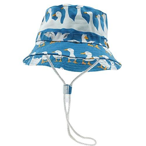 Happy cherry - Sombrero Pescador para Bebé Niños Niñas Primavera Verano Infantil Gorra Protectora del Sol Cartoon para Playa Vacaciones Hat Estampado de Pato Lindo Azul - 46cm