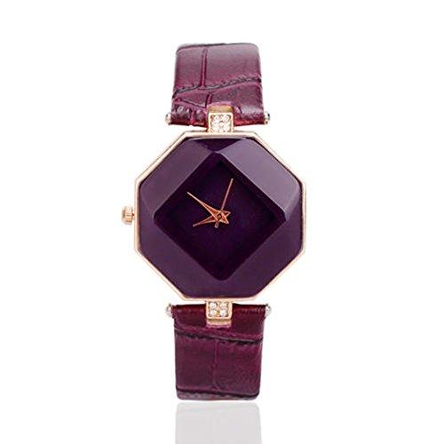 Damen-Armbanduhr Casual Lederarmband-Quarz Uhren Analog Qaurzuhr, Lila