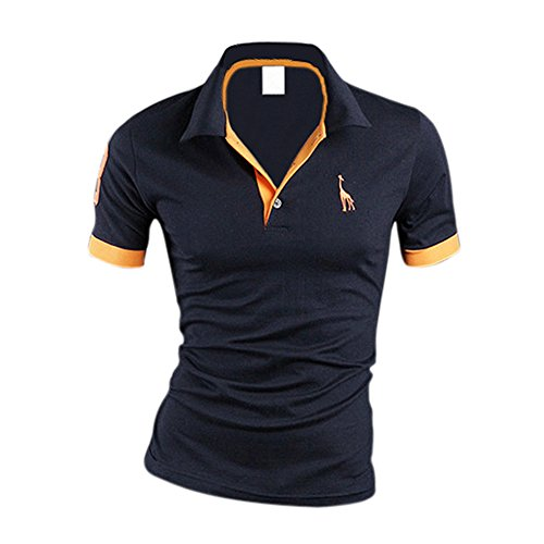 SODIAL (R) NUOVO ARRIVO Uomo premio K-POP Giraffa design Slim Fit Polo Corto T-Shirt blu scuro XL