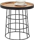 Kare Design Beistelltisch Country Life, Couchtisch rund, Wohnzimmertisch aus Holz, TV Tisch, Fernsehtisch, Braun-Schwarz (H/B/T) 52x53,5x53,5cm