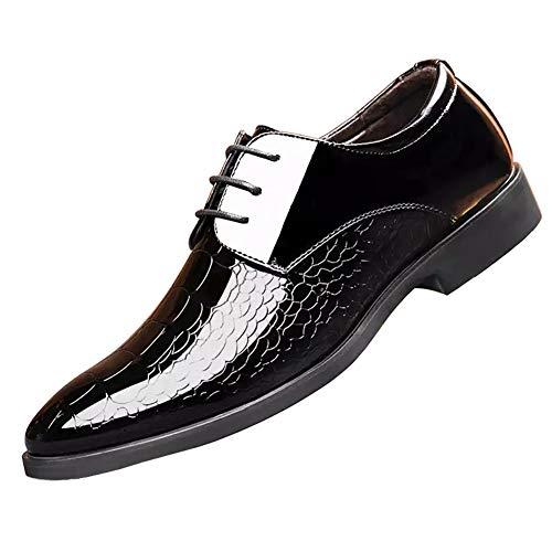 Herren Lederschuhe mit Schnalle und spitzem Zehenbereich, sportlich geschnitten, für Herren, sportliche und formelle Schuhe, mit Oxford-Schnürung, lässiges Paillettenkleid 54 Farbe -