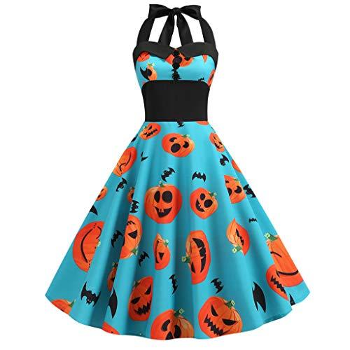 Abbey Abend Downton Kostüm - iYmitz Neu Damen Kleid Halloween Vintage Ärmelloses Bat Kürbis Gedruckte Abend Party Kleider Halloween Kostüme für Frauen(Blau,EU-36/CN-L)