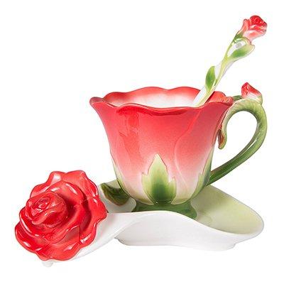 Hsxot vaso da fiori in ceramica a forma di rosa 3d tazza da caffè in ceramica e cucchiaio da piattino tazza in porcellana di alta qualità creativo design regalo di san valentino rosso