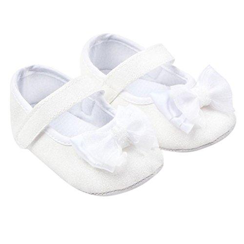 BZLine® Kleinkind Mädchen Bowknot leuchtende Krippe Schuhe Babyschuhe Weiß