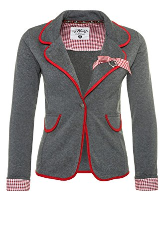 Hailys Damen Sweat Blazer Jersey Blazer Anzugjacke Oktoberfest (XXL, Red)