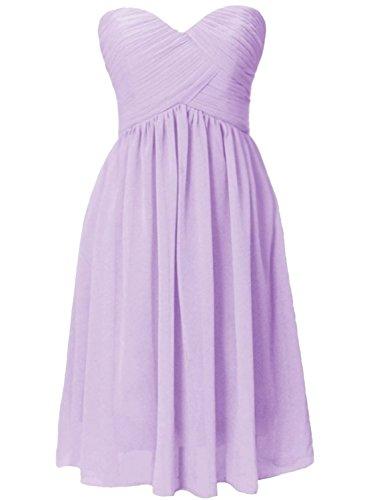 Azbro Women's Simple Bandeau Ruffled Design Bridesmaid Dress Violet