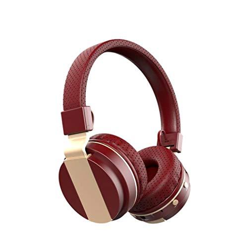 Faltbare über Ohr Bluetooth 4.0 Wireless Stereo Kopfhörer Hands Free Music Player Support TF Card mit UKW-Radio, eingebautem Mikrofon und 3,5mm Audio,Red