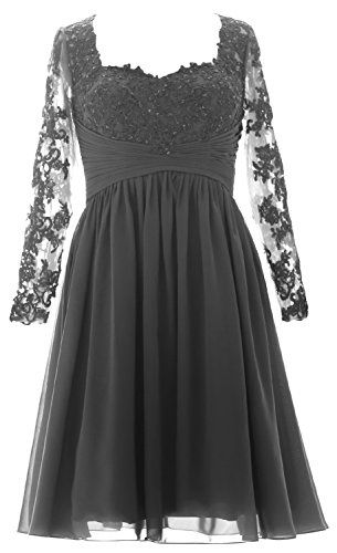 MACloth Vintage Long Sleeves Mother of Bride Dress Short Evening Formal Gown gray