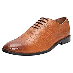 BRUNE Men Tan Color Croco Print Genuine Leather Whole Cut Oxford Shoe size-9