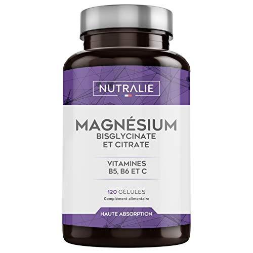 NUTRALIE   Magnésium et Vitamines B5, B6 et C   Bisglycinate et Citrate de Magnésium 100% Bio-disponible   120 Capsules de 715 mg