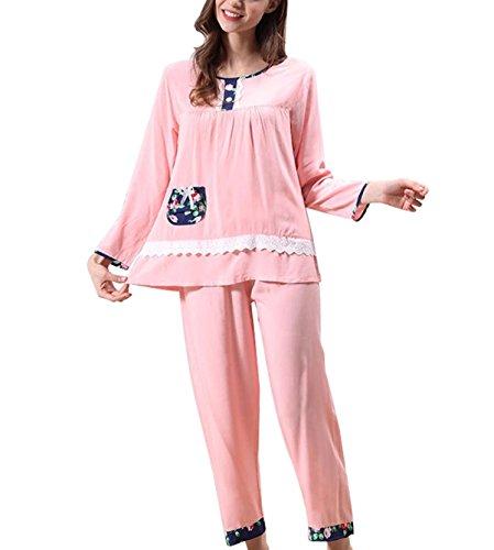 Frauen-T-Stück Baumwolle Sommer Pyjamaklage Pink