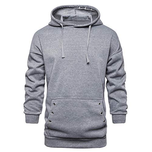 MOTOCO Herren Casual Langarm Sweatershirt Knopf Kordelzug Hoodie Reißverschlusstasche Pullover Top(L,Navy-Taschenknopf)