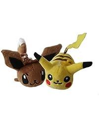 Pokemon Plush Eevee And Pikachu Backpack Clip Set
