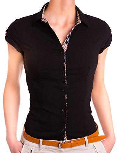 Danaest Damen Kurzarm Hemd Blusen 3/4 Ärmel (527), Farbe:Schwarz, Größe:Medium (Seide 3/4-Ärmel-bluse Aus)
