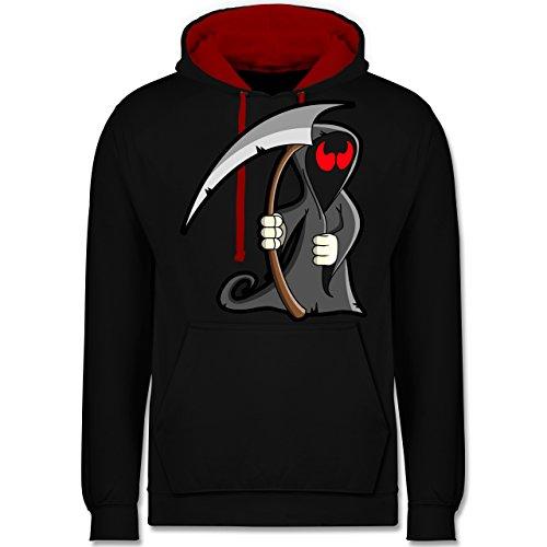 Shirtracer Halloween - Sensenmann - XL - Schwarz/Rot - JH003 - Kontrast Hoodie