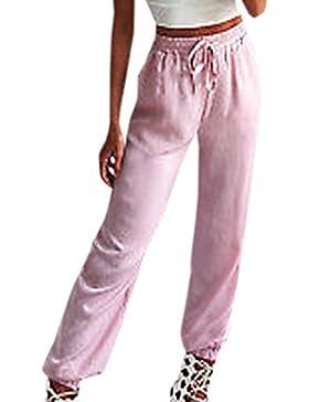 YUPOLB Mujeres Pantalones de Linterna Casual Baggy Largo Pants Colores Lisos Pantalón con Cordón