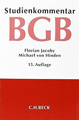 Bürgerliches Gesetzbuch: Studienkommentar by Florian Jacoby (2015-09-29)