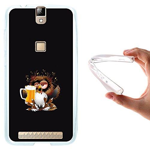 WoowCase Elephone P8000 Hülle, Handyhülle Silikon für [ Elephone P8000 ] Eule und Kirsche Handytasche Handy Cover Case Schutzhülle Flexible TPU - Transparent
