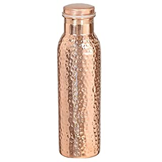 Indian Pure Copper Water Bottle With Lid - Hammered Gifts For Christmas - Capacity 900 Ml