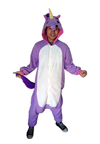 DAN SPEED Popolare Unisex Cosplay Unicorn Pigiama Animali Party Halloween Costume Attrezzatura Sleepwear Costume Cosplay,Tipo Nuovo,S M L XL Viola e Rosso