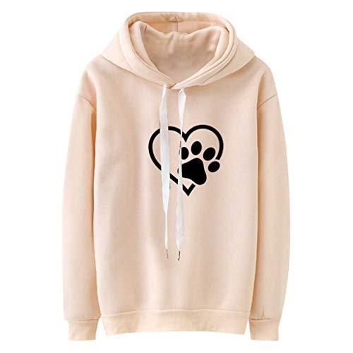 NAIHEN DAMEN Hoodies Sweatshirts mit Neck Drawstring Langarm Herzen Print Khaki Kapuzen Sweatshirt Pullover Top Bluse -