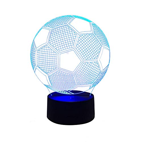 Gutyan 3D Illusion Nachtlampe, Farben ändern Touch Control LED Schreibtisch Tisch Nachtlicht für Kinder Kinder Familie Ferienhaus Dekoration Valentinstag Fußball geformt Nachtlicht Geschenk