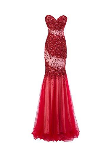 Bridal_Mall -  Vestito  - Senza maniche  - Donna Rosso