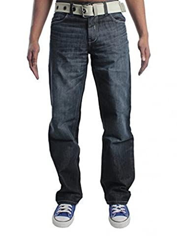 Enzo Men's EZ14 Loose Fit Jeans, Blue (Darkwash), W46/L30 (Manufacturer Size:46S)