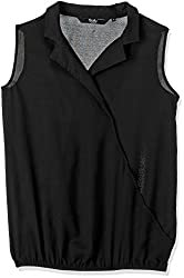 Allen Solly Womens Button Down Shirt (AWTS316T00256_Black Solid_M)