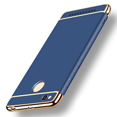 GoldKart *3-in-1 Dual Layer Thin Back Cover Case for MI Redmi 3S Prime- (Blue)