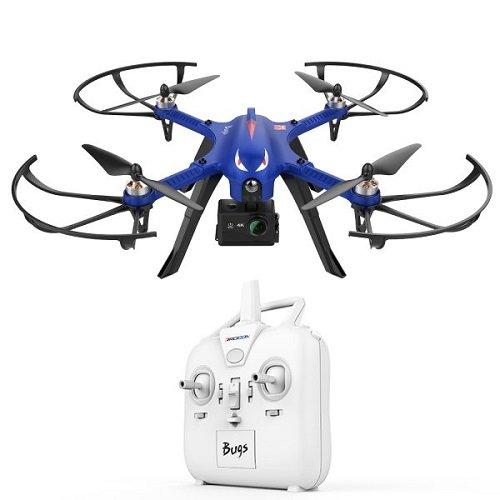 DROCON Bürstenlose Drohne Quadrocopter Bugs 3 (Action Kamera Halterung, Langer Steuerabstand)blau