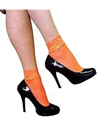 Sock Snob - 2 pares medias de rejilla del tobillo de las mujeres con el cordón