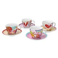 Tognana IR085363380 Set Tazze tè Iris Love, Porcellana, Multicolore, 8 unità