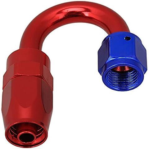 WEONE rojo y azul de aluminio pulido AN-6 de 180 grados de ángulo giratorio de extremo de manguera de montaje adaptador Fuel