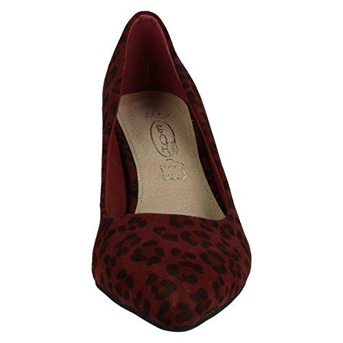 Spot On , Sandales Compensées femme - Burgundy Leopard Print