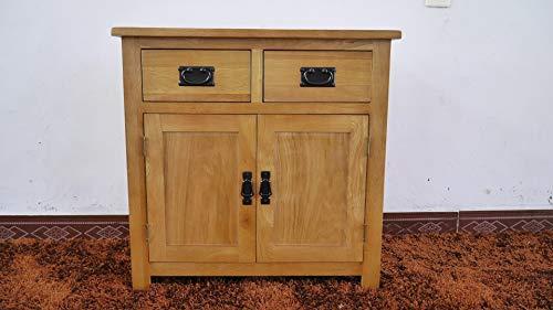 Oak furniture piccola credenza in quercia, 2 ante e 1 cassetto, per soggiorno beige